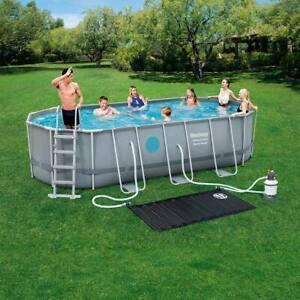 Bestway 18x9 ft Steel Oval Frame Pool + Sand Filter Pump, Solar Powered Pool pad
