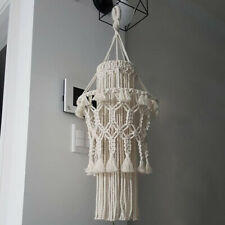 Beige Hand Crochet Macrame Lampshade Ceiling Floor Table Cotton Lamp Shade 23''