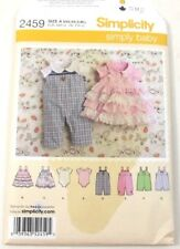 Simplicity 2459 Sewing Pattern Baby Rompers Jumpers Sizes XXS  XS  S M L