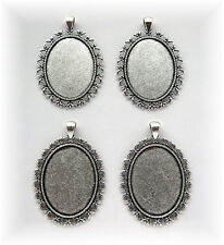 4 Ant. Silvertone FLORAL style 40mm x 30mm CAMEO Costume PENDANTS Frame Settings