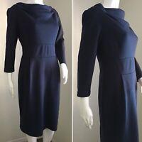 DONNA MORGAN Dress Size 8 Navy Blue Knee Length Ponté Knit Long Sleeve Career