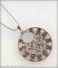 Long antique silver chain lavender color stones pendant fashion jewelry necklace