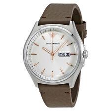 Emporio Armani Zeta White Dial Dark Brown Leather Mens Watch AR1999