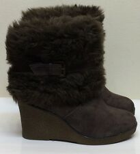 Le Chateau Black Women Ankle Boots Micro Suede Wedge Faux Fur 39 Brown Boots