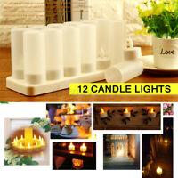 Au Stecker 12X Wiederaufladbar Flameless Kerzen LED Teelicht Dinner Party