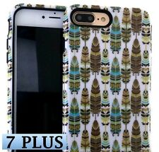 iPhone 7+/8+ Plus - HARD&SOFT HYBRID ARMOR CASE COVER TRIBAL BROWN BLUE FEATHERS
