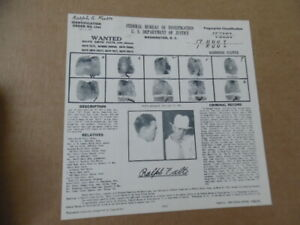 1935 FBI Wanted Poster Ralph Smith Fults Bonnie & Clyde Barrow Gang Member ORIG.