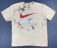 Nike Just Do it Custom Bleached Red Check Mens Black Short Sleeve T Shirt XL