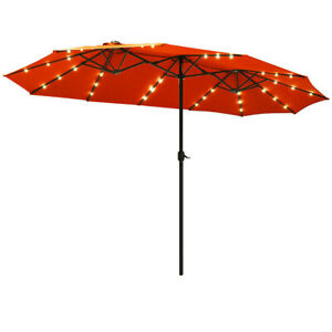 15ft Double Sided Large Patio Twin Umbrella LED Outdoor Garden Market Crank
