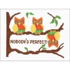 Counted Cross Stitch Kit NOBODY'S PERFECT Owl Owls