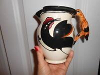 Majolica Pitcher FRENCH Figural  BLACK CROW Bird Handle