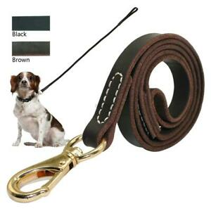 Leather Dog Leash For Large Dogs Heavy Duty Training Leads Clip Black Brown