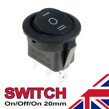 1 x On/Off/On Black Round Rocker Switch Car Automotive 20mm SPDT 2 Way Dash