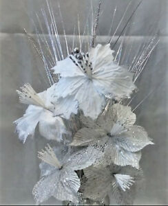 SPARKLE PALACE WHITE ARTIFICIAL BUNCH OF FLOWERS WITH SILVER BLOOMERS ROMANY ✨