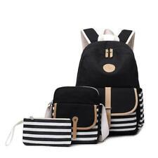 3pcs/set Canvas Women Backpack Bookbag Laptop Bagpack Travel School Bag Girls