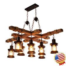 8 Lights Vintage Industrial Retro Wood E27 Cafe Bar Lamp Fixture Loft Home Light