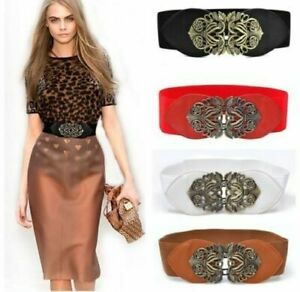 Women Retro adjustable Flower Elastic Stretch Buckle Wide Waist Belt Waistband