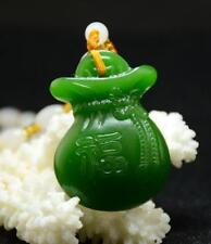 2018 China natural Green jade wallet pendant Necklace Amulet Lucky Purse