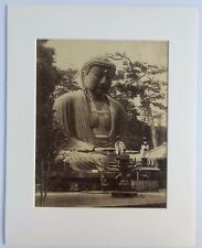 Albumen Print: Buddha in Japan w/young monks. Circa late 1800's. Beautiful image