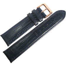 18mm Fluco Blue Teju Lizard-Grain Leather ROSE GOLD Buckle Watch Band Strap Men