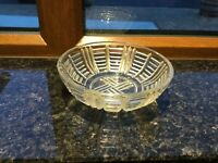 Vintage Clear Pressed Glass Round Shape Preserve Sugar Pickles Dish VGC