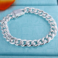 """925Sterling Silver 8MM 8""""  Square Agraffe Thick Strong Men Chains Bracelet ZH227"""