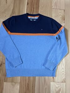 Tommy Hilfiger BoysSweater Navy Blue Orange Size M(12-14) New Without Tags
