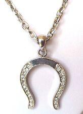 collier pendentif fer à cheval incrusté de cristaux diamant couleur argent 328