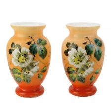 Antique Pair Hand Painted Blown Glass Vases