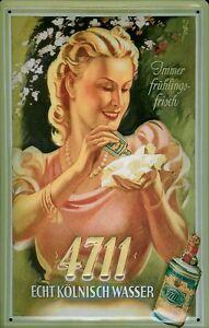 4711 Kölnisch Wasser Taschentuch Blechschild 3D geprägt Tin Sign 20 x 30 cm
