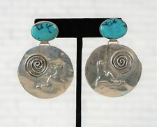 LESLEY AINE McKEOWN Vintage Sterling Silver Turquoise Raven Earrings Signed