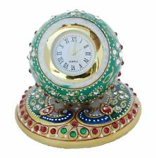 Handcrafted Meenakari Work Decorative Office Table Marble Ball Shape Watch Gift