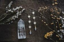Fantasy Witchy Celestial Bohemian Sun and Quartz Crystal Spike Earrings