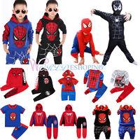Toddler Kids Boy Spiderman Tracksuit Set Hoodie Joggers Sweatshirt Pants Outfits