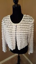 Dressbarn Collection Women's SZ L White Ruffled Cropped Top Jacket Blouse Shirt
