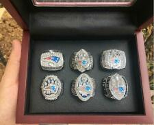 6PCS New England Patriots Football Team ring Set With Wooden Box Fan Men Gift
