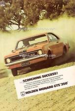 1969 HT HOLDEN MONARO GTS SEBRING ORANGE A5 DISPLAY CARD BROCHURE BIANTE 1:18
