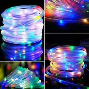 100 LED 32FT Solar Rope Tube Lights Waterproof String Light Outdoor Garden Lamp