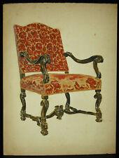 Dessin original c1900 mobilier chaise décoration intérieur chair draw