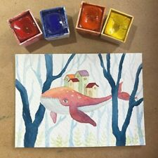 ACEO card- ORIGINAL-watercolour-whale