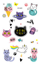 Temporary Tattoo Waterproof Cute cat Arm Leg Art Stickers Removable