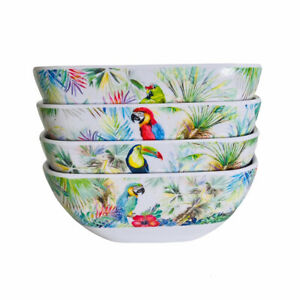 Certified International Tropical Birds Parrots Macaw Melamine Soup Bowls Set 4
