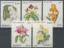 1990 MONACO N°1710/1714** FLEURS, ROSES,ORCHIDEE,IRIS, FLOWERS/ROSES/ORCHIDS/MNH