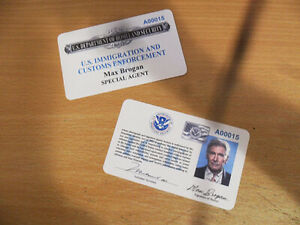 CROSSING OVER ICE BADGE MOVIE PROP ID BADGE MAX BROGAN ICE CREDENTIALS CIA NCIS