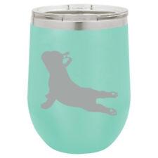 Stemless Wine Tumbler Coffee Travel Mug Glass Insulated French Bulldog Yoga