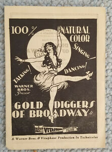 1929 GOLD DIGGERS OF BROADWAY Vitaphone Early Color Talkie 4 page program RARE