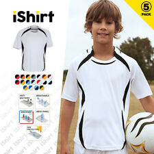 5PCXKIDS T-SHIRT 100% POLYESTER BREATHABLE CONTOUR MESH PANELS SPORT JERSEY TEES