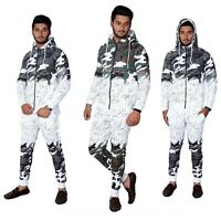 Men Splatter Print Camouflage Casual Designer Hooded Zip Up Joggers Tracksuit