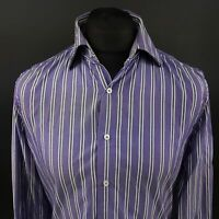 Tommy Hilfiger Mens 2 Ply Shirt MEDIUM Long Sleeve Purple SLIM FIT Striped