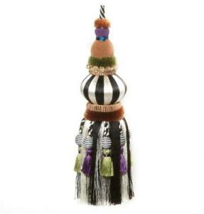 "MacKenzie-Childs Bibelot Tassel - Black & White 9"" H x 5"" loop"